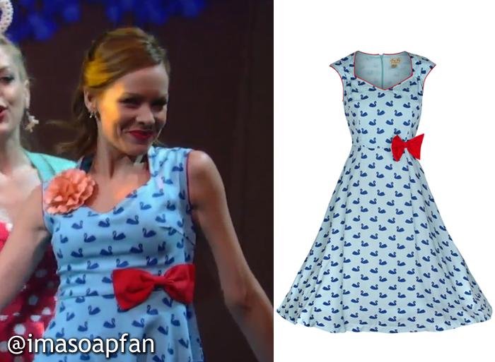 Ellie Trout, Emily Wilson, Blue Swan Print Dress, GH, Nurses Ball, General Hospital, Season 53, Episode 23, 05/04/15