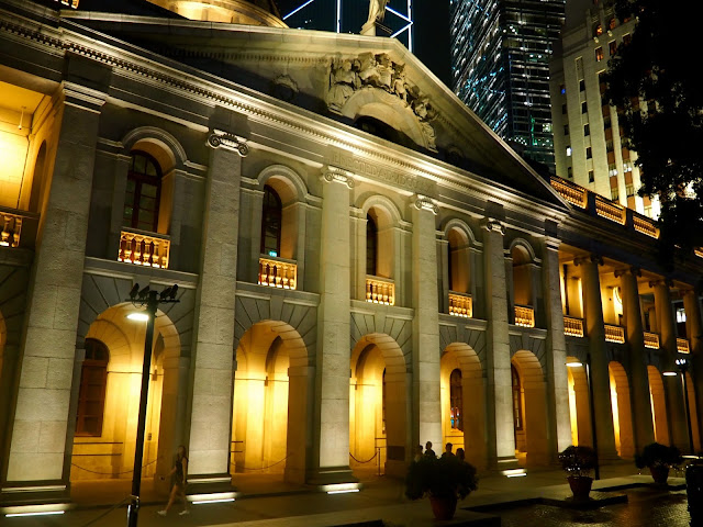 Former Legislative Council Building at night, Central, Hong Kong