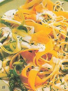 Špagety so zeleninou a syrovou omáčkou