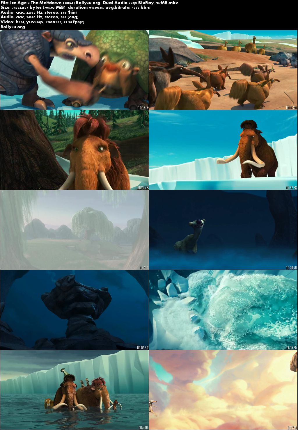 Ice Age 2 The Meltdown 2006 BluRay 700MB Hindi Dual Audio 720p Download