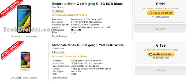 Motorola Moto G 3rd Generation listed on Spanish e-commerce Website