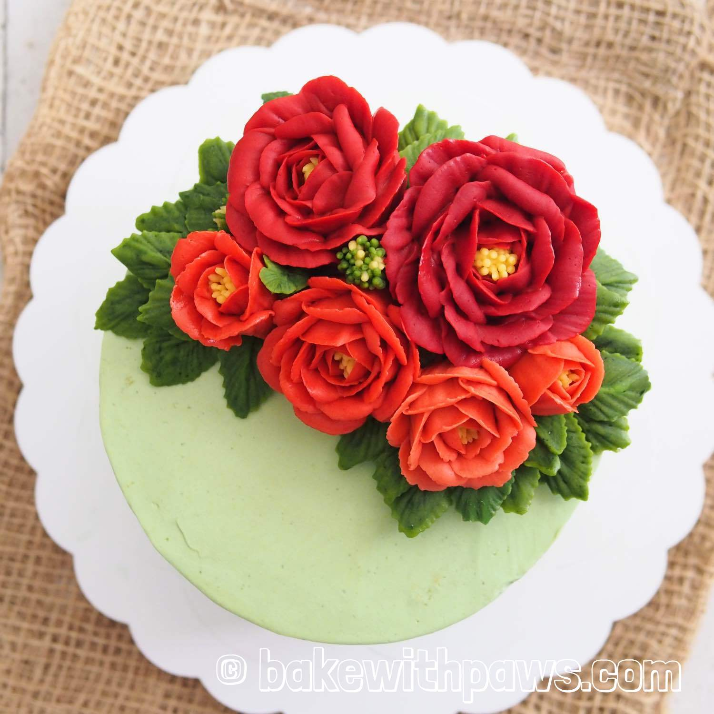 Korean Style Buttercream Flowers Cake 31 Bake With Paws