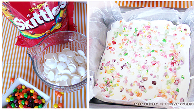 ingredients to make rainbow bark, skittles bark, white chocolate, skittles