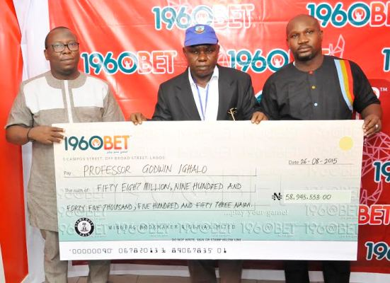 Biggest payout in sports betting history in Nigeria recorded at 1960Bet