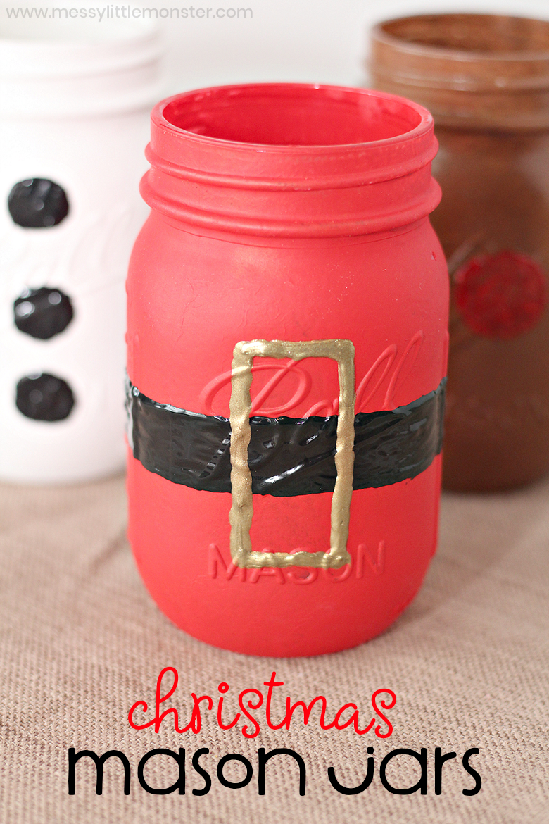 Christmas painted mason jars. Easy mason jar Christmas crafts for kids.