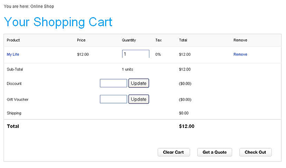 BC Application online Shopping with Cart