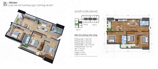 thiết kế căn hộ ecolife tây hồ 103,8m