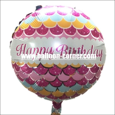 Balon Foil Bulat HAPPY BIRTHDAY Motif Pola Ikan