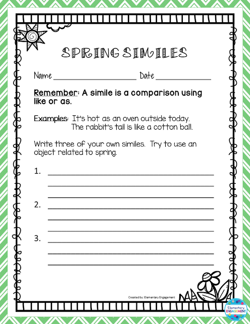 This fun simile practice sheet is free!
