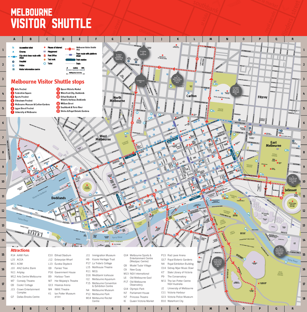 melbourne city tourist shuttle map melbourne dn itinerary part