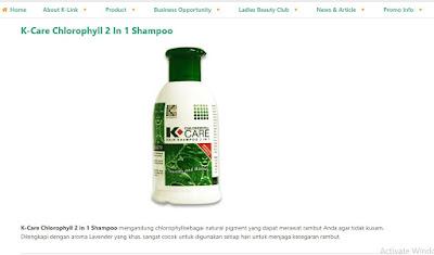 Produk K-Link  K-Care Chlorophyll 2 in 1 Shampo