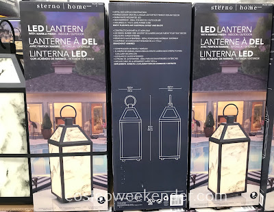 Costco 1900764 - Sterno Home LED Lantern with Marble Finish: great for your patio or inside your home