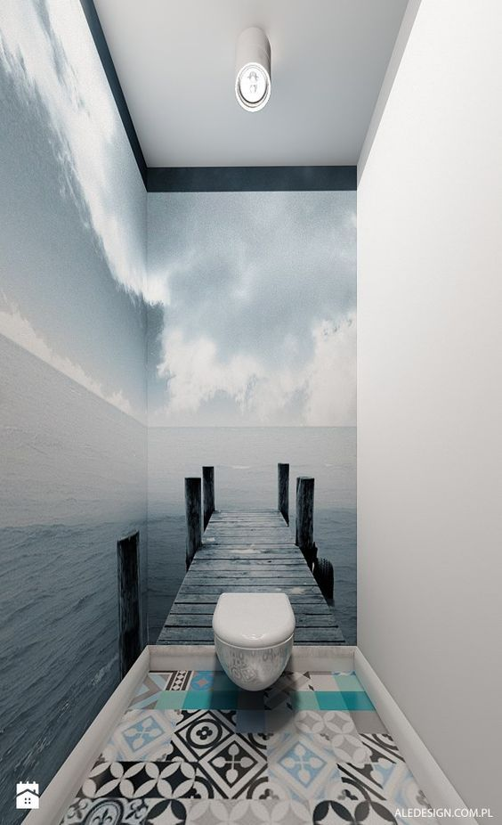 Small Bathroom Design With 3D Effect Wallpaper Murals