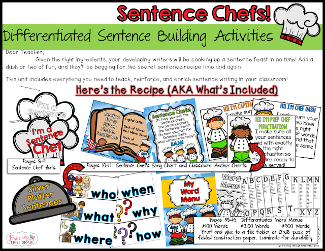 Fluttering Through First Grade: Sentence Chefs Sentence Writing ...