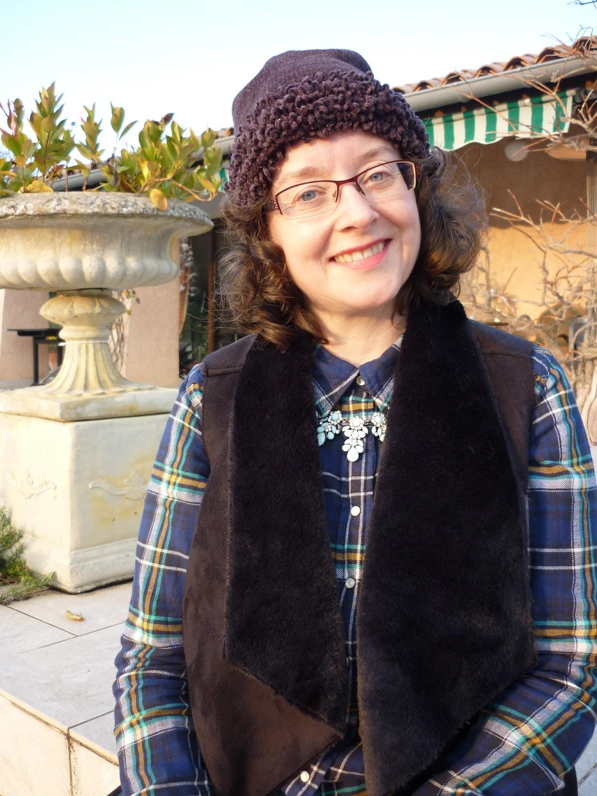 Check Shirt, Dorothy Perkins Petite Shearling Gilet, Yosa Necklace | Petite Silver Vixen