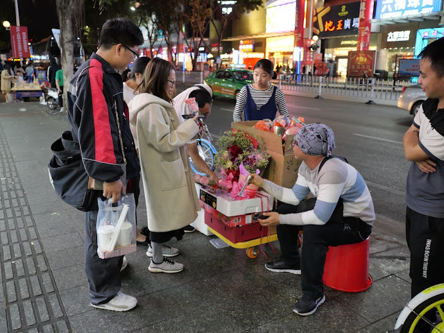 selling flowers on Valentine's Day in Jiangmen, China