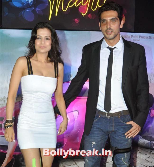 Amisha Patel and Zayed Khan, Hot Amisha Patel in White Dress at Desi Magic Poster Launch