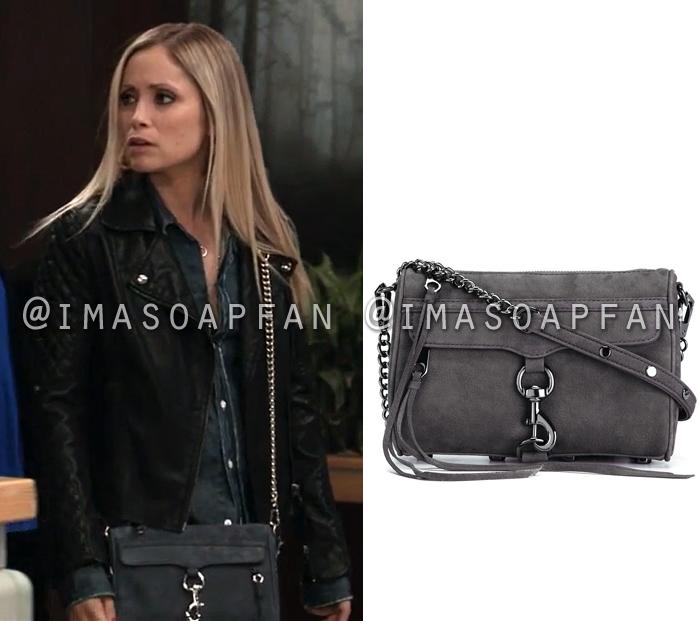Lulu Spencer Falconeri, Emme Rylan, Dark Grey Leather Crossbody Bag, General Hospital, GH