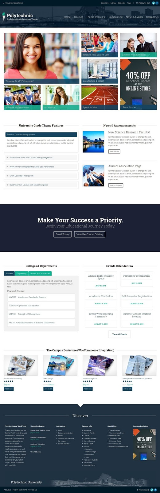 Responsive educational institutions WordPress theme