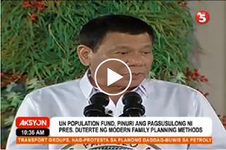 JUST IN: UN Population Fund, Pinuri ang pagsusulong ni Pres. Duterte ng Modern Family Planning Methods