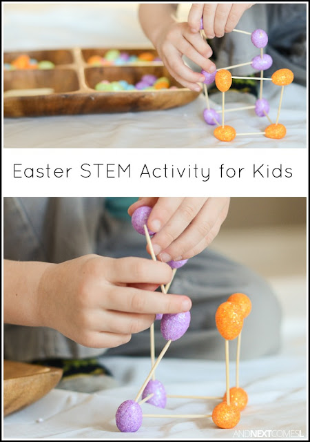 Easter egg engineering & fine motor STEM activity for kids from And Next Comes L
