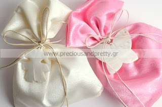 christening favors girl satin pouches white shell butterfly