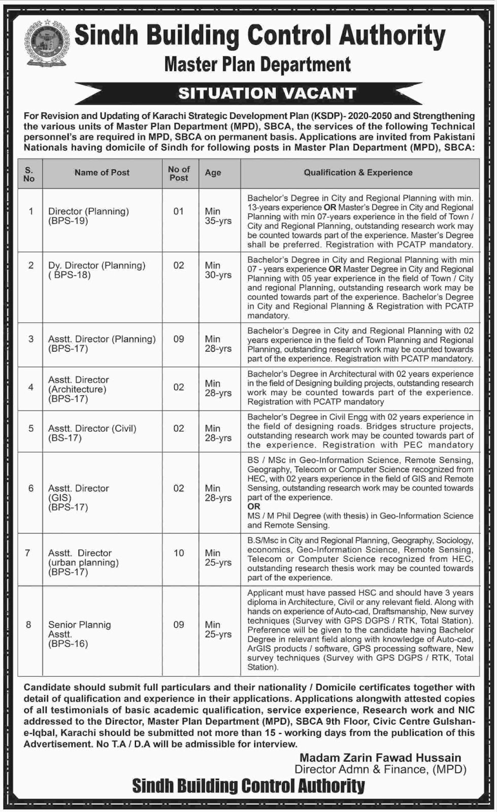 Bps-16 to 19 Jobs In Sindh Building Control Authority 22 Jun 2017