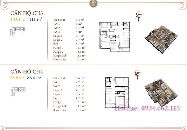 Loại hình căn hộ 03-04 tòa B1 Roman Plaza