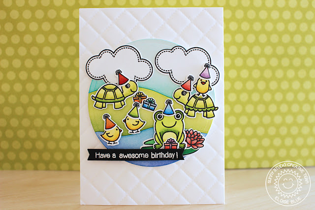 Sunny Studio Stamps: Turtley Awesome Turtle, Frog & Chick birthday card by Eloise Blue.