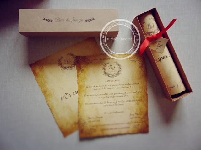 Invitaciones de boda vintage en caja, pergamino bonito y original