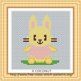 RABBIT(2), FREE AND EASY PRINTABLE CROSS STITCH PATTERN