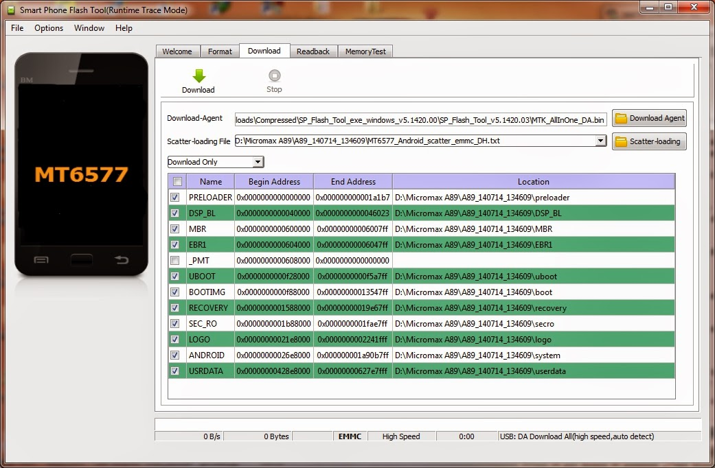 SP Flash Tool v5.1420.00