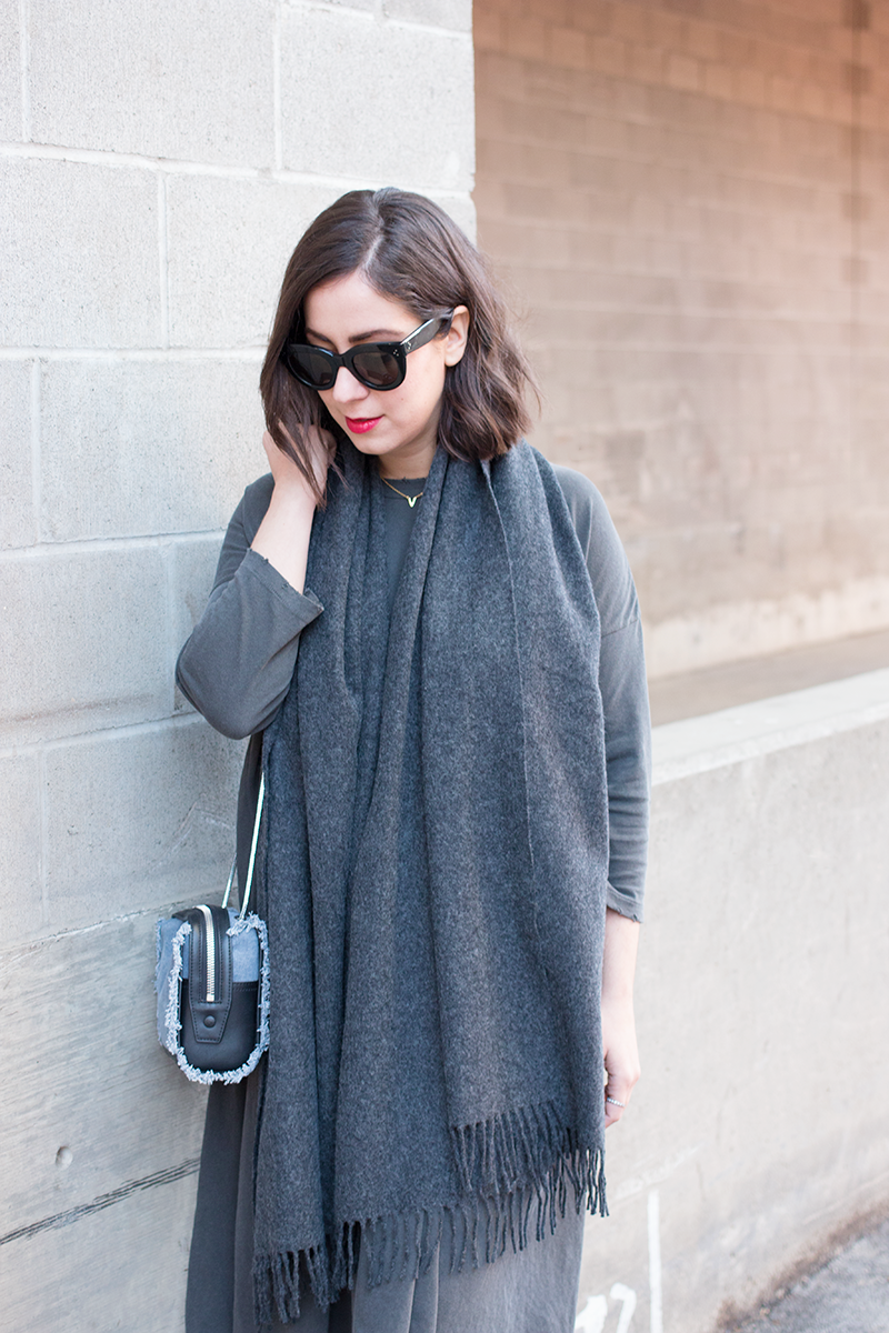 Aritzia grey wool scarf