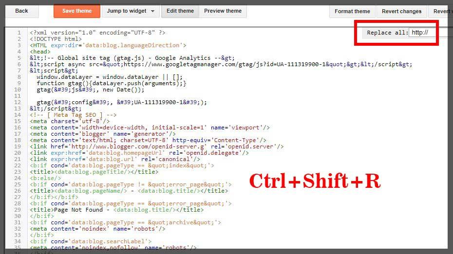 Cara Mudah dan cepat  mengganti semua http ke HTTPS di dalam template blog