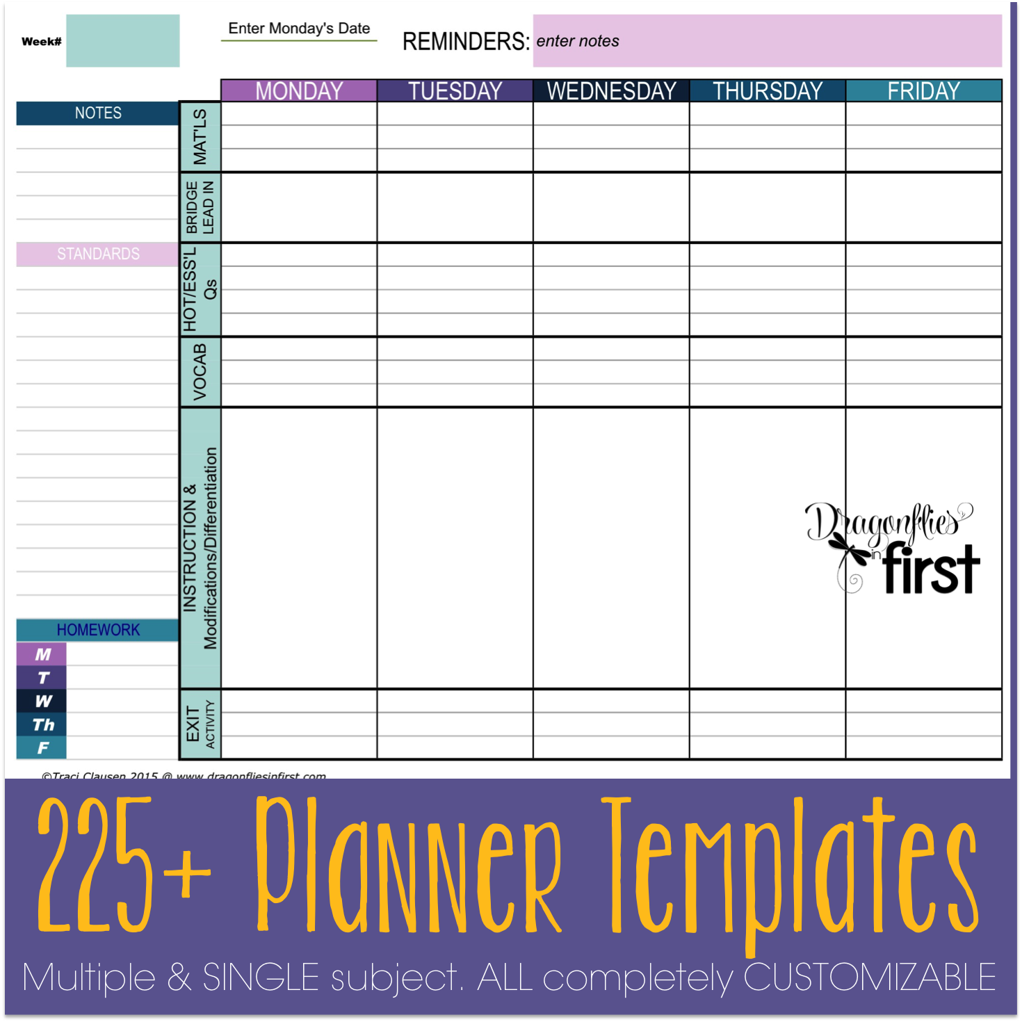 Teacher planner the ultimate weekly and yearly digital for Yearly lesson plan template