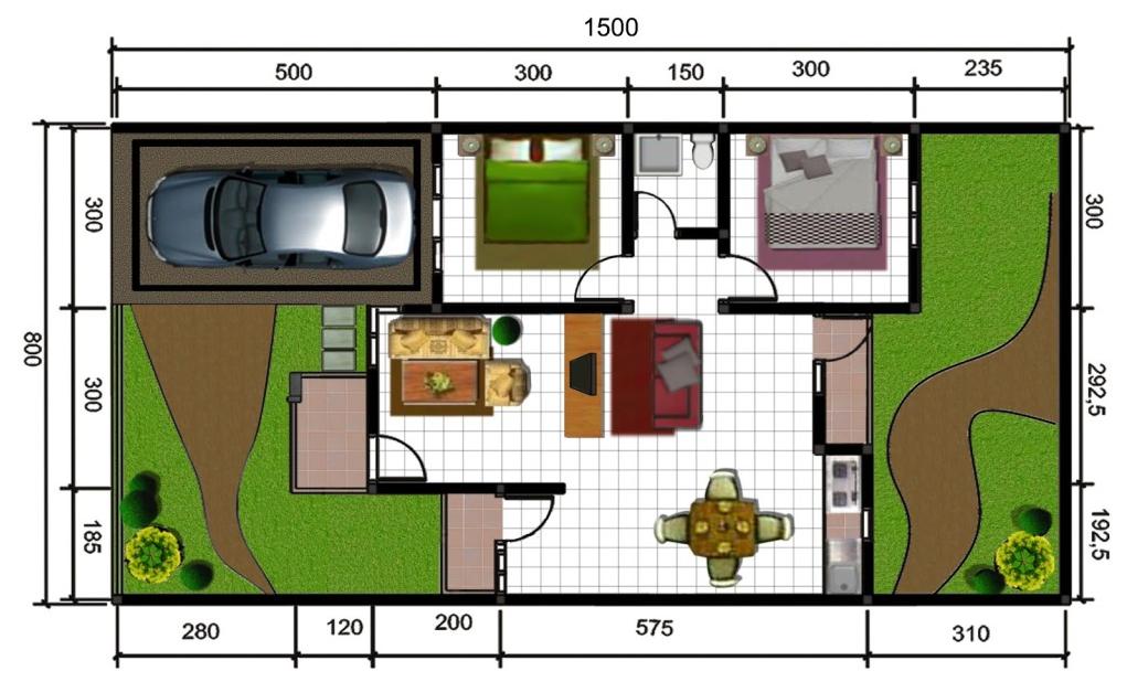 Denah Rumah Type 45 Dengan Skala
