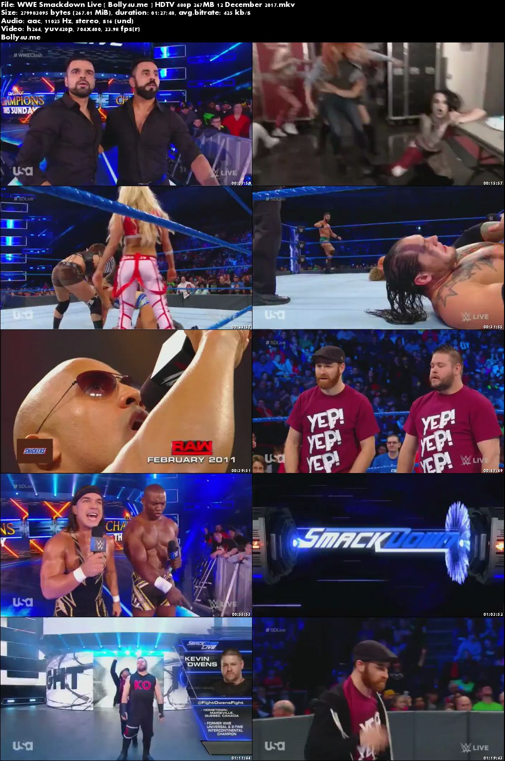 WWE Smackdown Live HDTV 480p 250MB 12 December 2017 Download