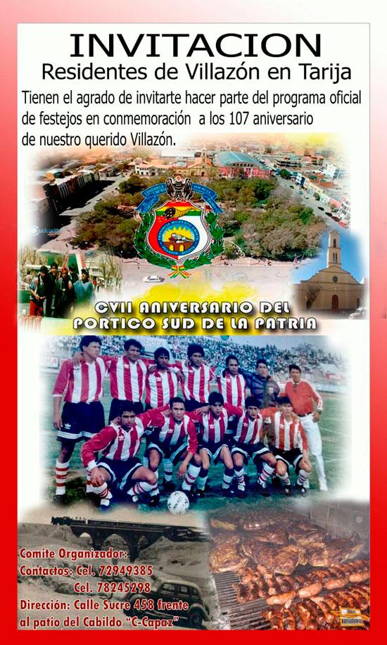 Agenda de Actividades Aniversario CVII de Villazón - Residentes de Villazón en Tarija