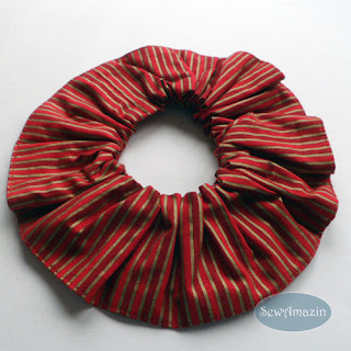 Christmas Dog Scrunchie Ruffle, Red Gold Stripes