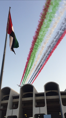 the etihad flight with the colors of uae flags. this is meant to be the air of determination and optimism.