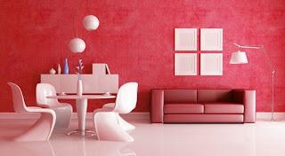 Sala con paredes rojas