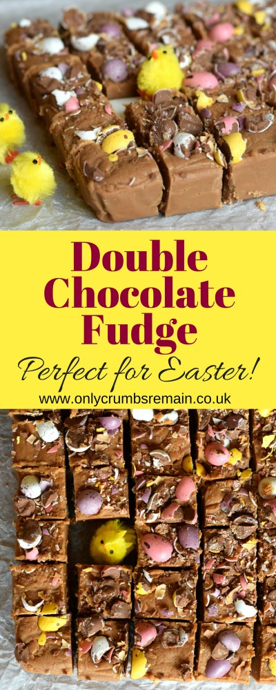 How to make Double Chocolate Fudge with Mini Eggs without a sugar thermometer.