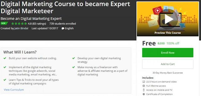 [100% Off] Digital Marketing Course to became Expert Digital Marketeer| Worth 200$