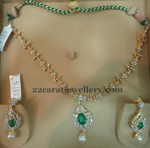 Simple 24 Grams Diamond Set Jewellery Designs
