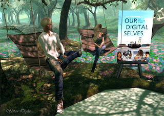 Slatan Dryke and iSkye Silverweb relaxing under some trees in Second Life