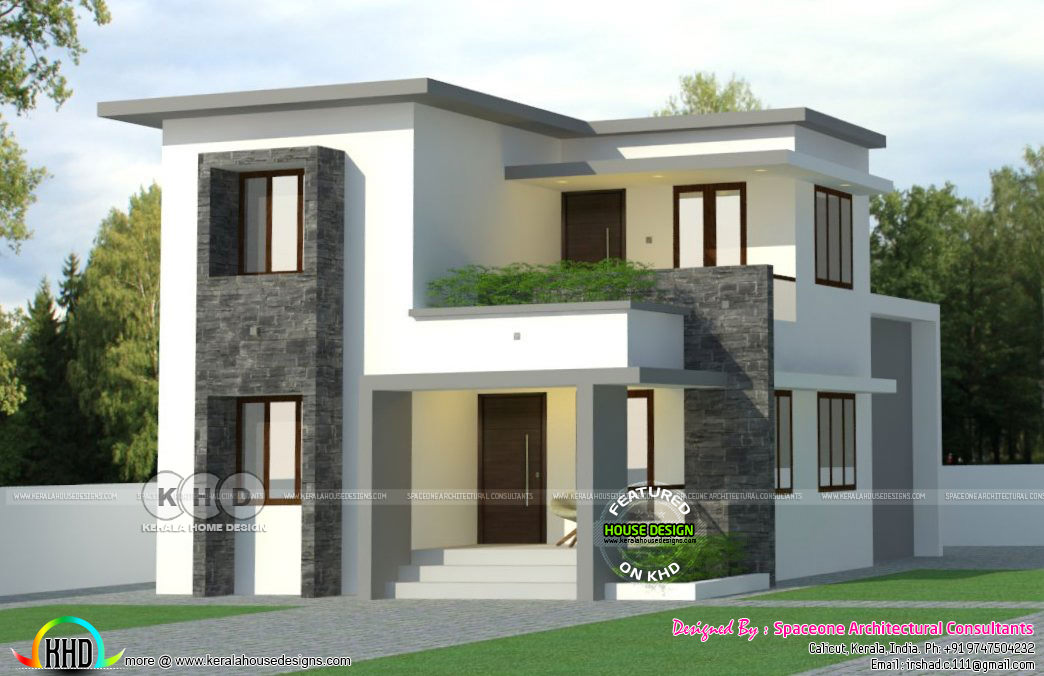 2 bedroom 1300 sq-ft flat roof house - Kerala home design ...