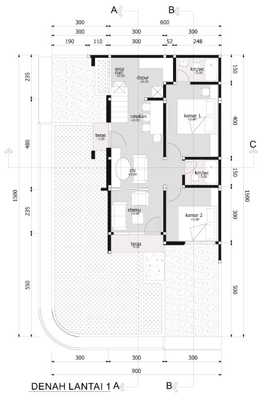 Denah rumah minimalis dua lantai luas 72 m2