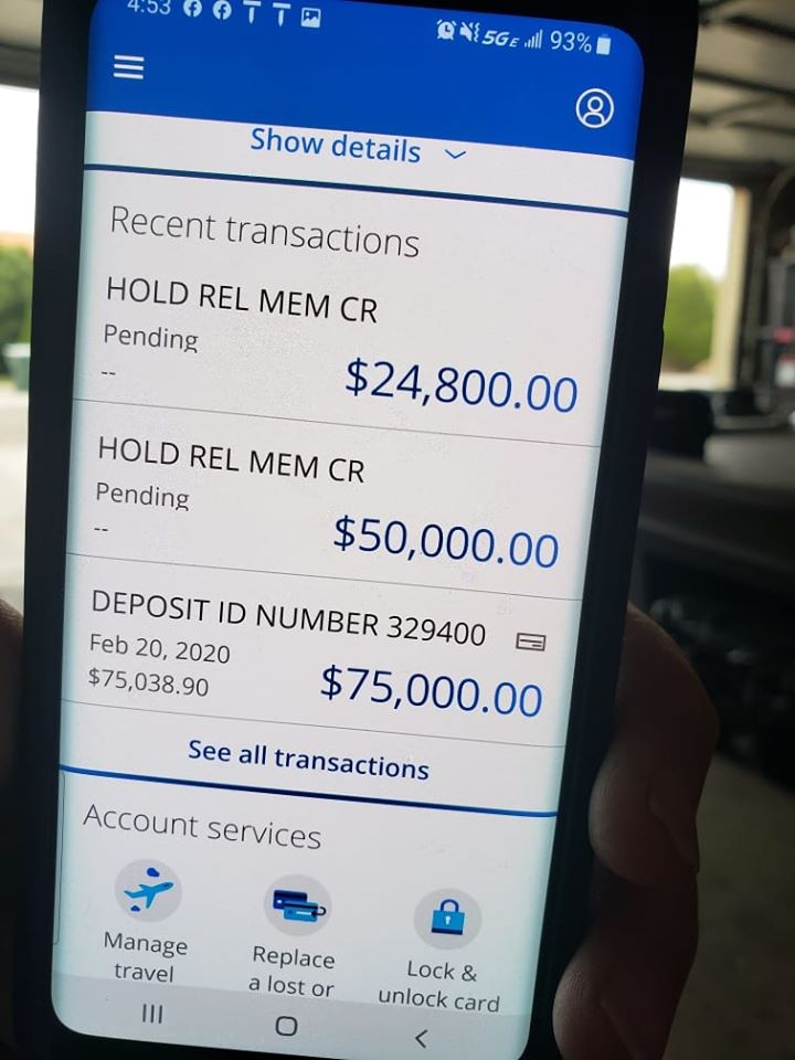 Hold rel mem cr on chase account checks