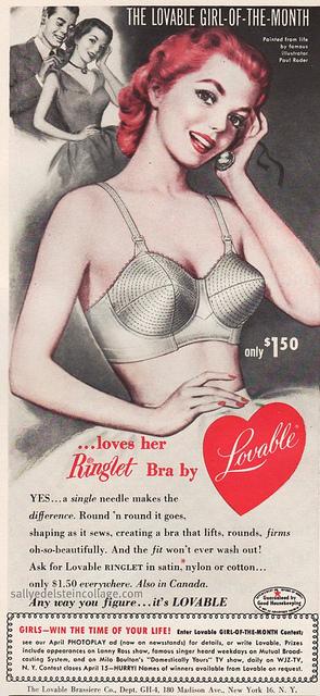 vintage 1950s bullet bra ad lovable heart