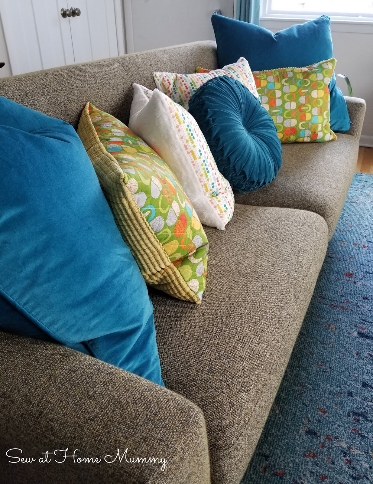 Mid Century Inspired Ikea Hack Funky Quilted Couch Cushions By Sew At Home Mummy
